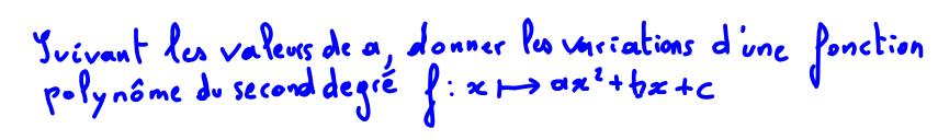 1ère S étude des variations d'une fonction polynôme du second degré