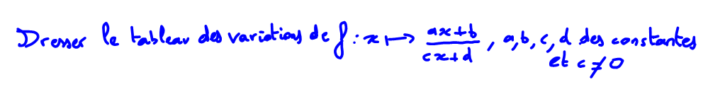 1ère S Comment dresser le tableau des variations d'une fraction rationnelle ?
