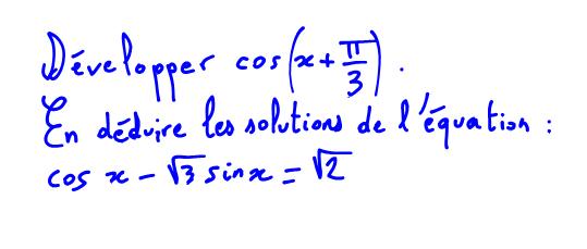 1ère S Vidéo équation trigo formule cosinus d'une somme