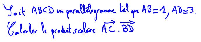 Vidéo de Maths, produit scalaire 2 vecteurs, parallélogramme