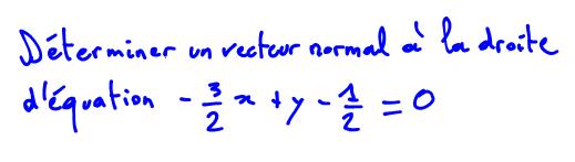 Vecteur normal à une droite vidéo