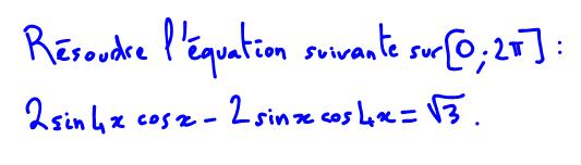 équation trigonométrique formule sinus cosinus