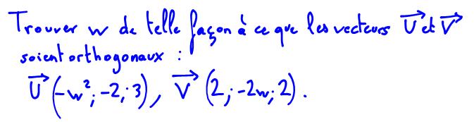 Vecteurs orthogonaux, équation du second degré à une inconnue