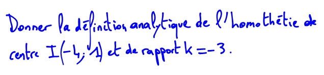 Expression analytique d'une homothétie