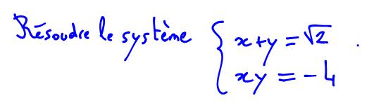 Système d'équations, somme et produit de deux nombres