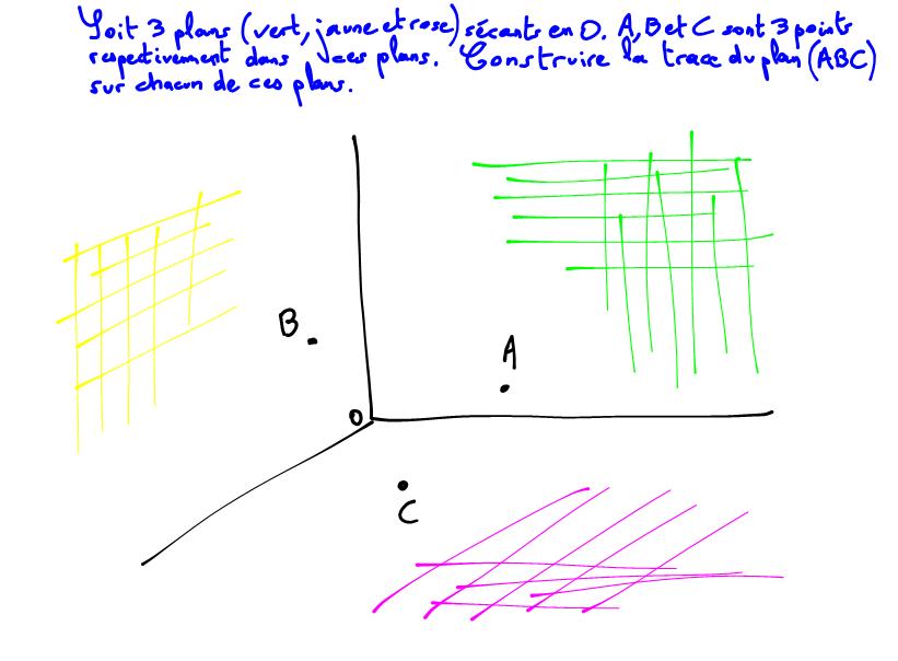 2nde Géométrie spatiale, trace d'un plan