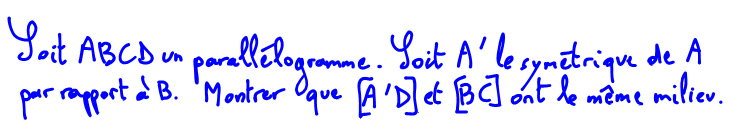 2nde, parallélogramme, milieu des diagonales