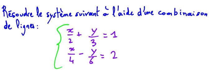 2nde Résoudre un système d'équations à l'aide d'une combinaison