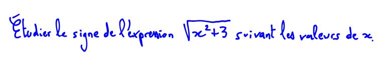 2nde Signe d'une racine carrée