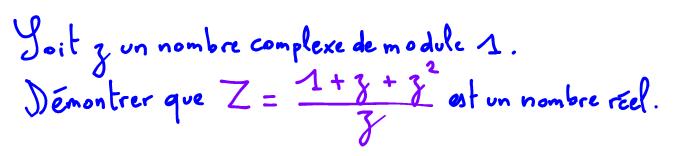Terminale S Démontrer qu'un nombre complexe est réel