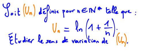 Terminale S Sens de variation d'une suite avec logarithme népérien