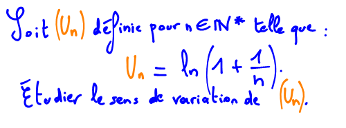Terminale S Sens de variation d'une suite avec logarithme nprien