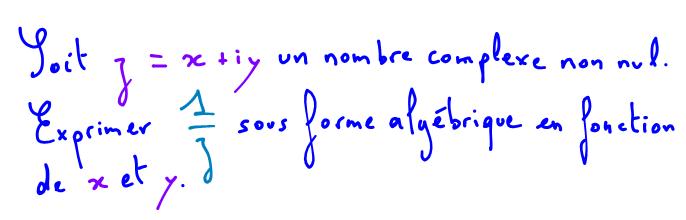 forme algébrique d'un nombre complexe