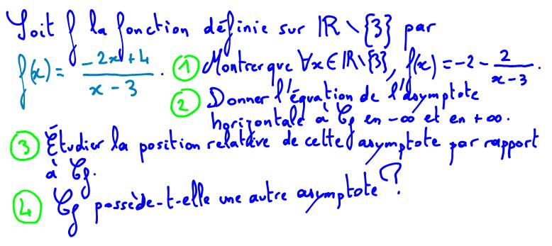 exerice asymptote à une courbe de fonction