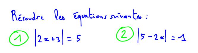 équations avec valeur absolue