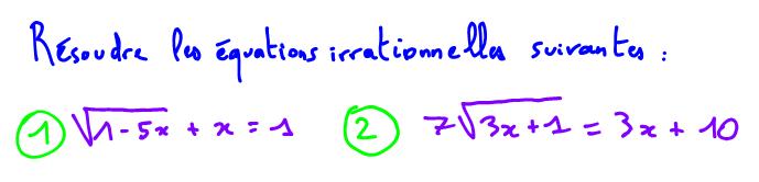 résoudre équation irrationnelle