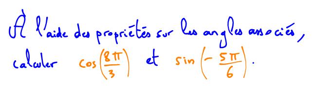 formules sur les angles associés pour simplifier un cosinus et un sinus