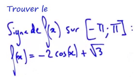 signe d'une fonction trigonométrique avec cosinus