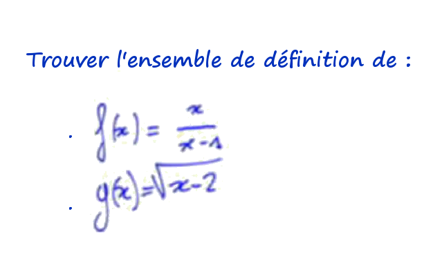 Trouver l ensemble de d finition d une fonction for Definition de l