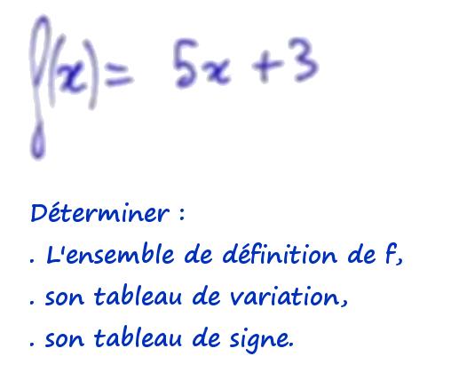 fonction affine, variation et signe